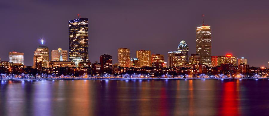 Green Bay Iphone 5 Wallpaper Boston Back Bay Skyline At Night Color Panorama Photograph
