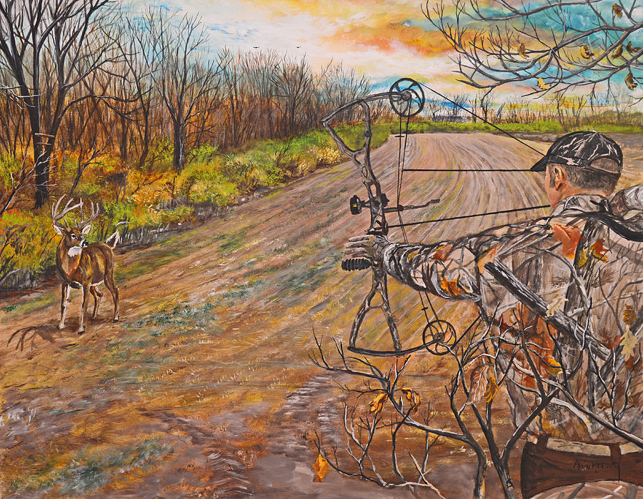 Colorful Fall Scene Wallpaper Bow Hunter Full Draw Painting By Alvin Hepler