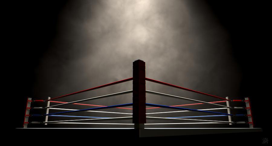 Black And White Wallpaper Decor Boxing Ring Spotlit Dark Digital Art By Allan Swart