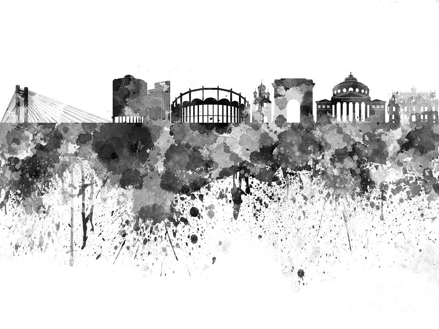 Bucharest Skyline In Black Watercolor On White Background Painting