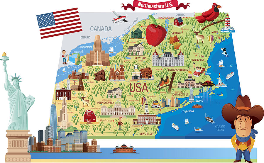Cartoon Map Of Northeastern Us by Drmakkoy