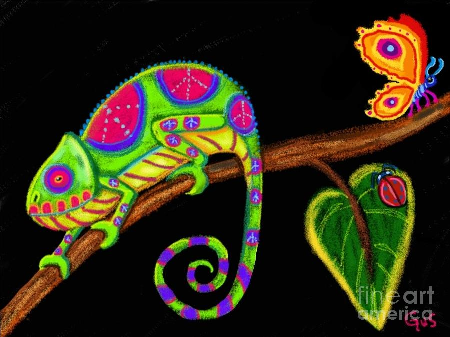 Lsd Wallpaper Iphone 6 Chameleon And Ladybug Digital Art By Nick Gustafson