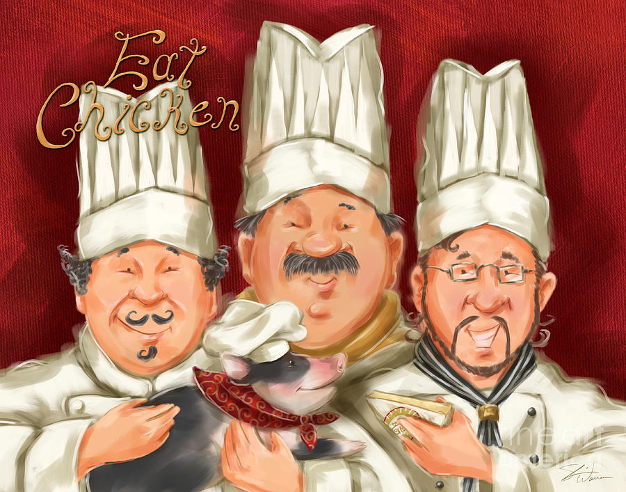 Piglet Wallpaper Iphone Chefs Say Eat Chicken Mixed Media By Shari Warren