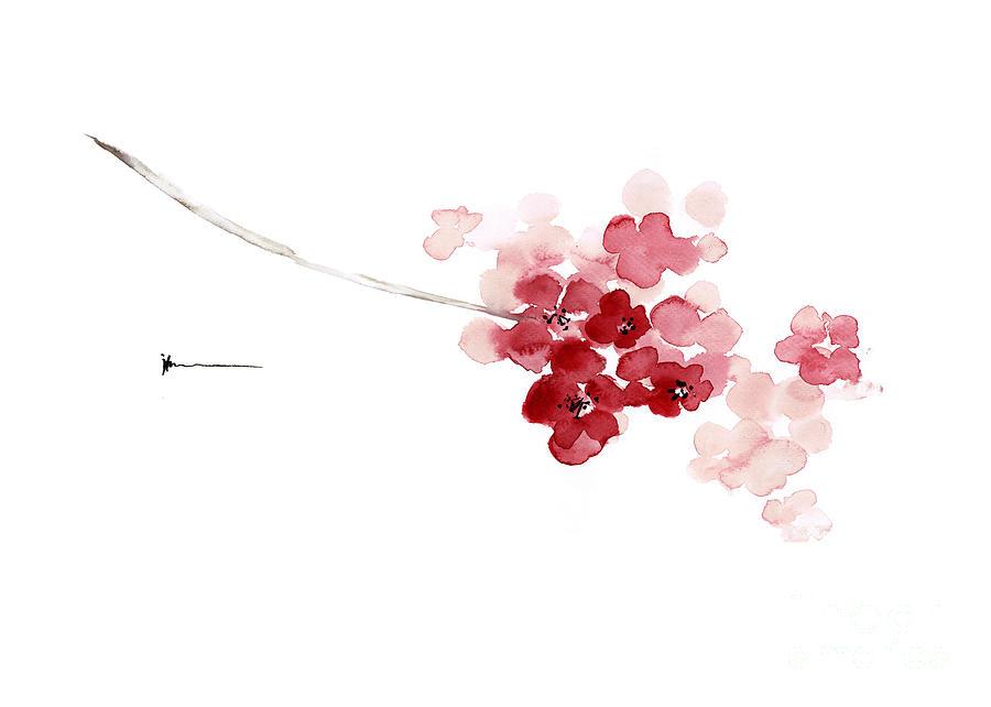 Mount Fuji Wallpaper Iphone Cherry Blossom Watercolor Art Print Decor Japanese Sakura