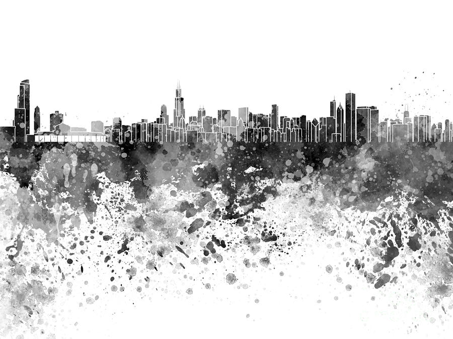 Chicago Skyline In Black Watercolor On White Background Painting