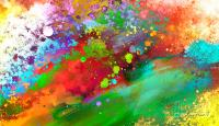 Color Explosion Abstract Art Painting by Ann Powell