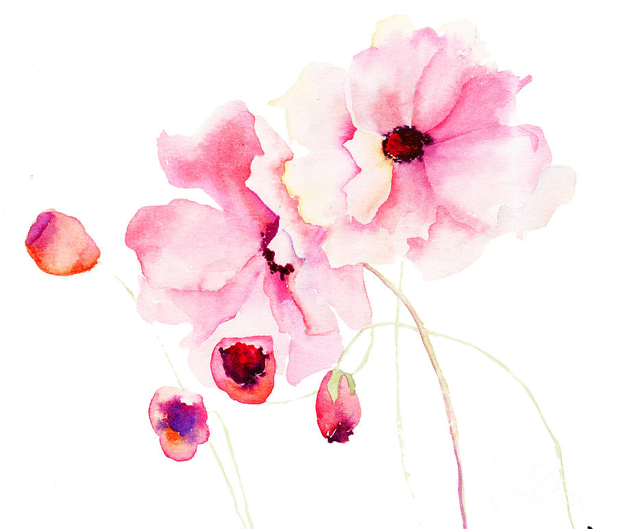 Cute Wallpapers Ipad App Colorful Pink Flowers Painting By Regina Jershova