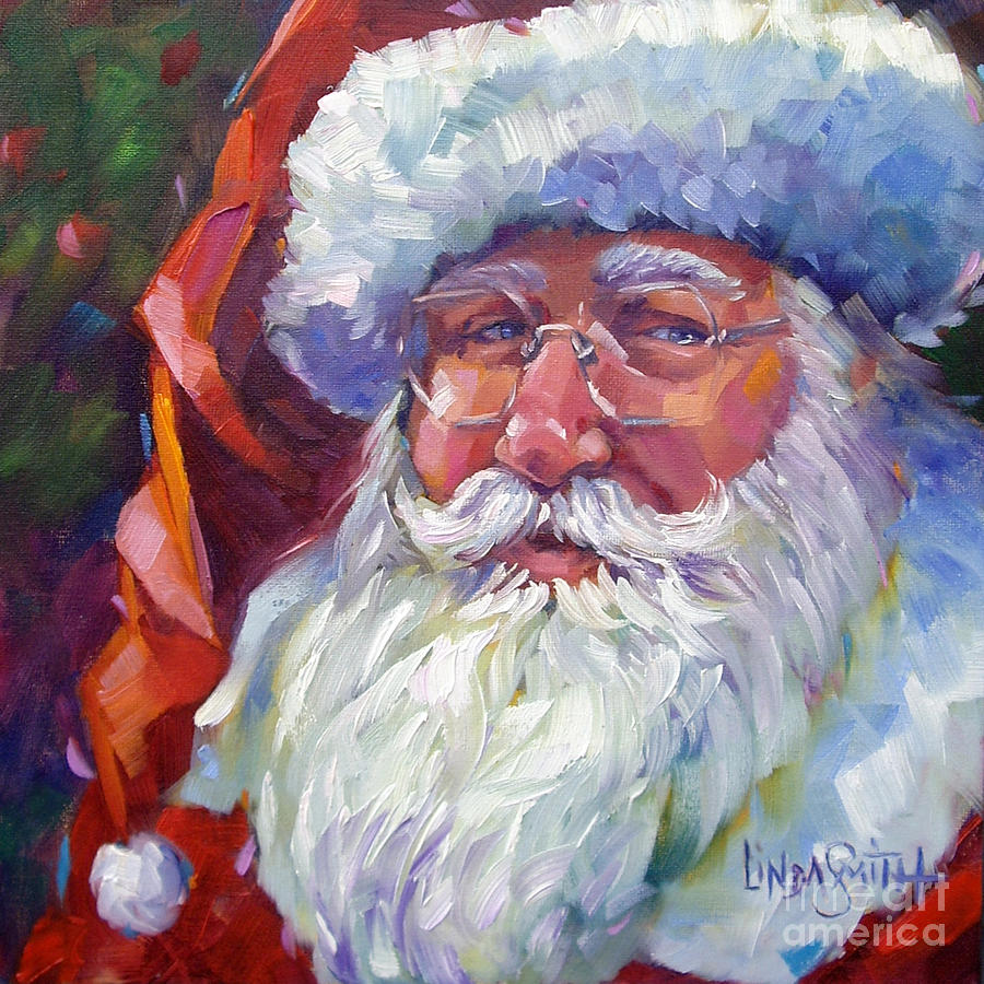 Animated Christmas Wallpaper For Iphone Colorful Santa Painting By Linda Smith