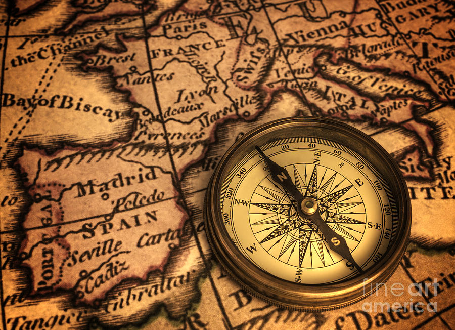Airplane Wallpaper Iphone X Compass And Ancient Map Of Europe Photograph By Colin And