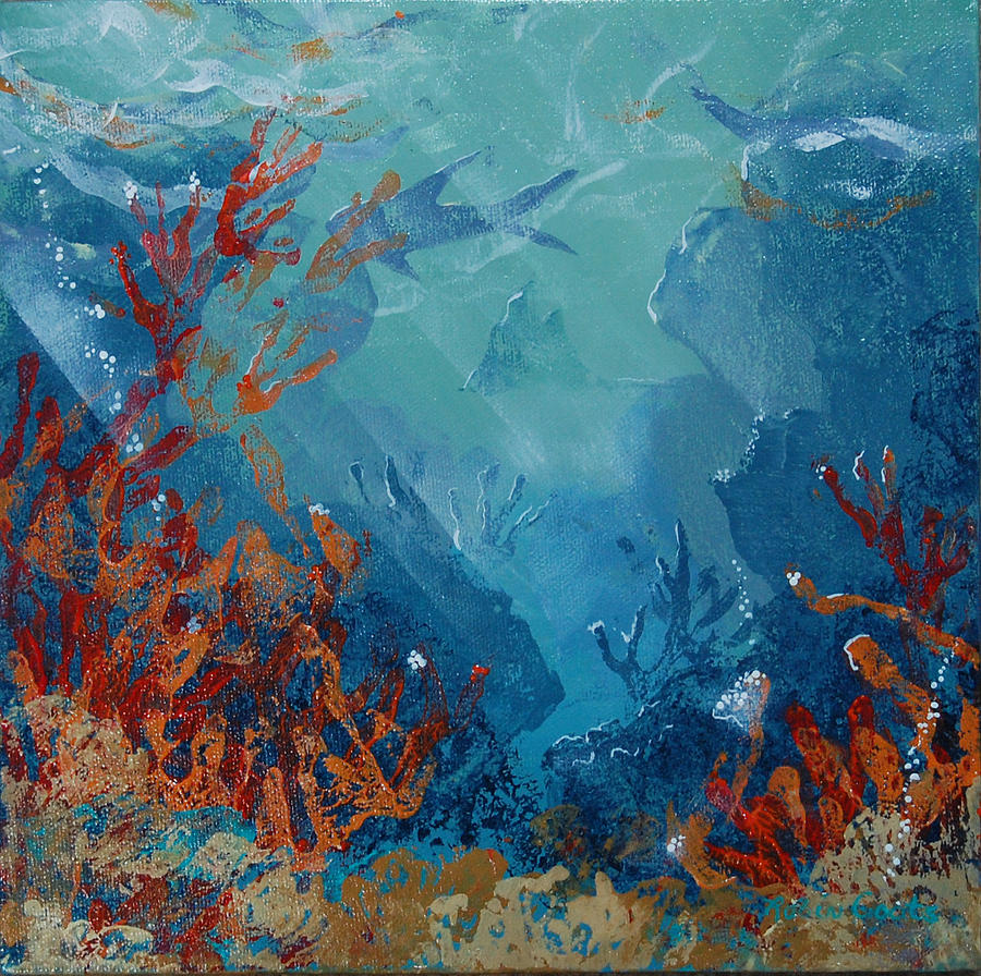 Reef Girl Wallpaper Coral Reef Mixed Media By Robin Coats