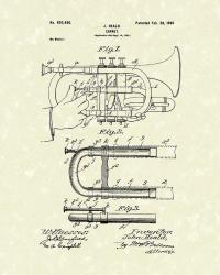 Cornet 1899 Patent Art Drawing by Prior Art Design