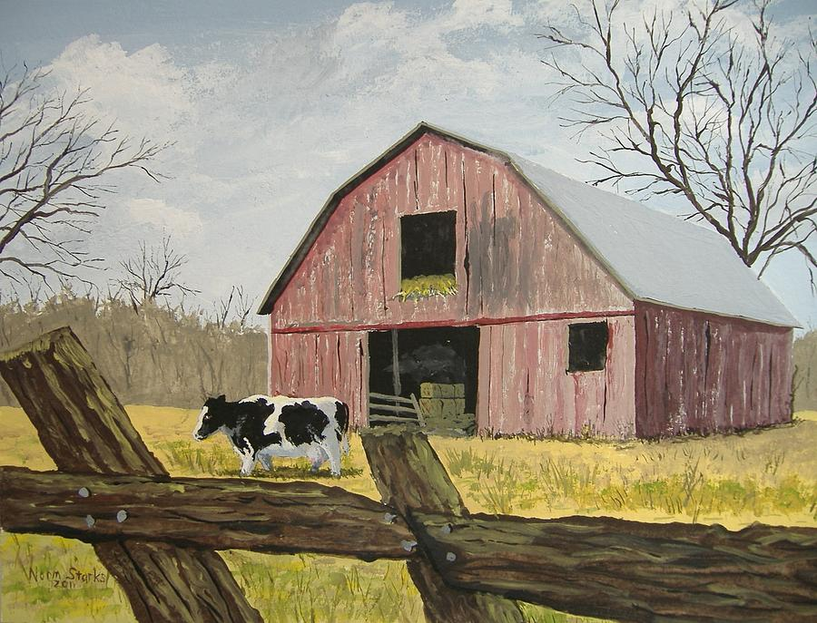 Fall Trees Iphone Wallpaper Cow And Barn Painting By Norm Starks
