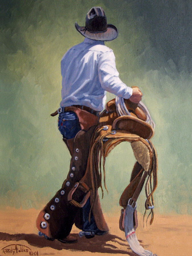 Fall Out Boy Wallpaper Iphone 5 Cowboy With Saddle Painting By Randy Follis