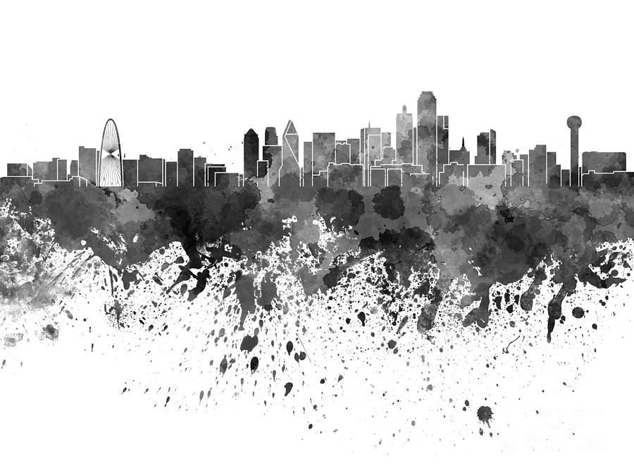 Dallas Skyline In Black Watercolor On White Background Painting by