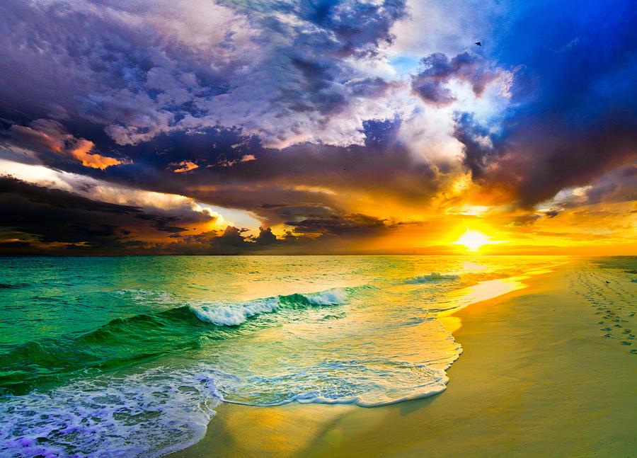 Ocean Waves Iphone Wallpaper Destin Florida Purple Sunset Over The Beach Art Prints