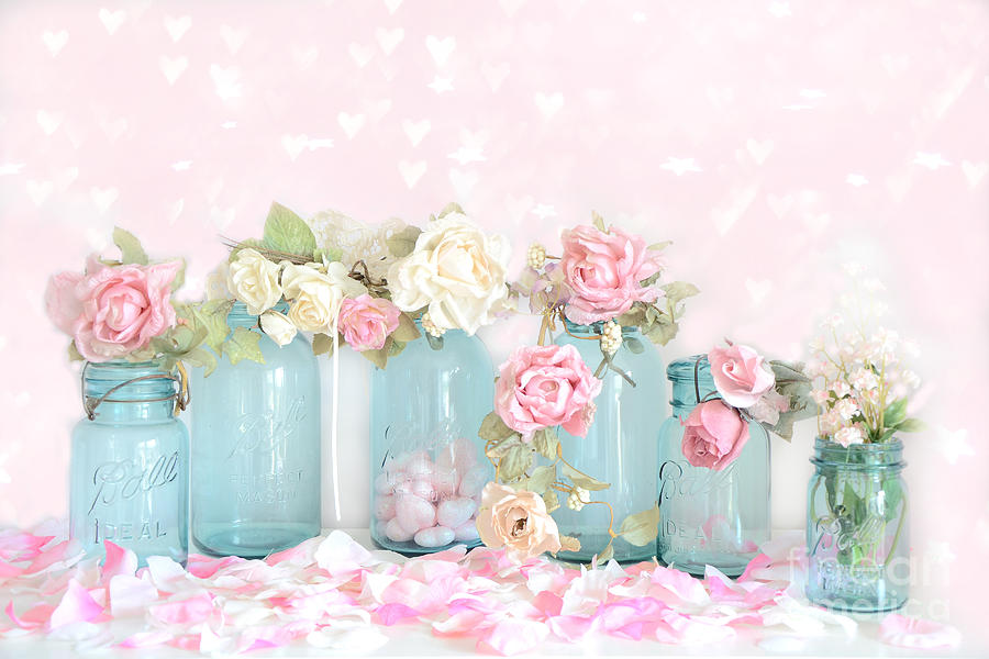 Rustic Mason Jar Fall Iphone Wallpaper Dreamy Shabby Chic Pink White Roses Vintage Aqua Teal