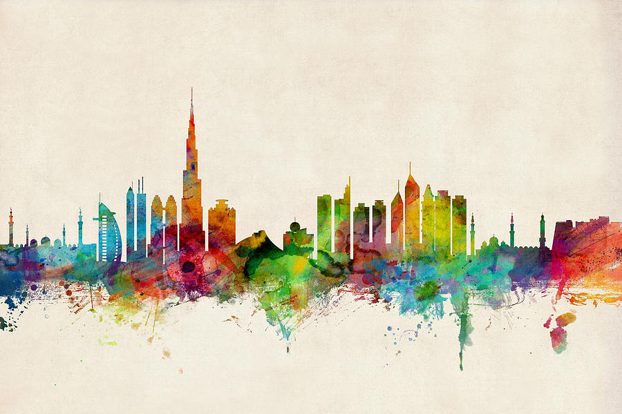 Nyc Iphone Wallpaper Dubai Skyline Digital Art By Michael Tompsett