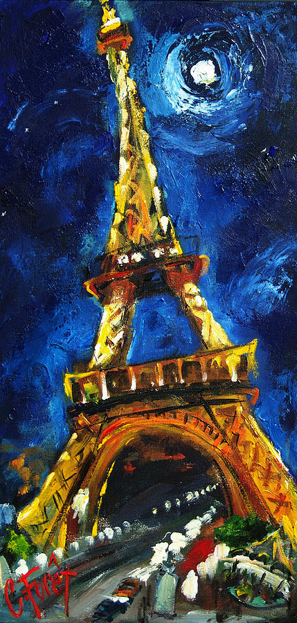 Van Gogh Starry Night Iphone Wallpaper Eiffel Tower Painting By Carole Foret