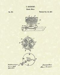 Electric Motor 1837 Patent Art Drawing by Prior Art Design