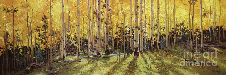 Birch Tree Fall Wallpaper Fall Aspen Panorama Painting By Gary Kim