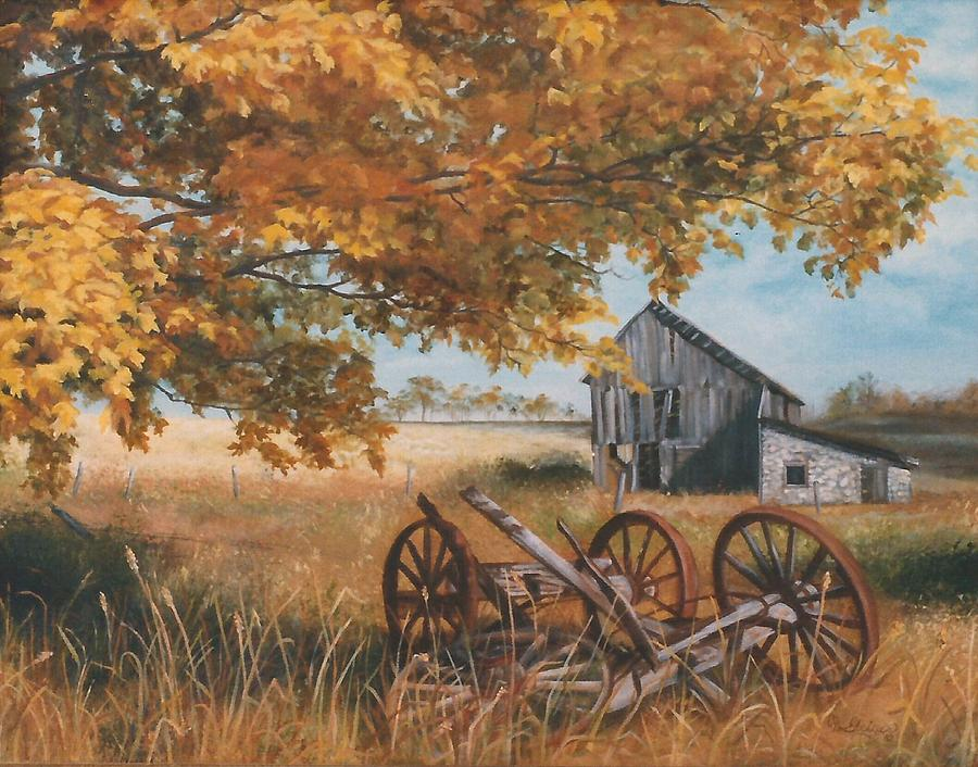 Fall Deer And Farm Scene Wallpaper Border Fall Farm Scene Painting By Cathy Geiger