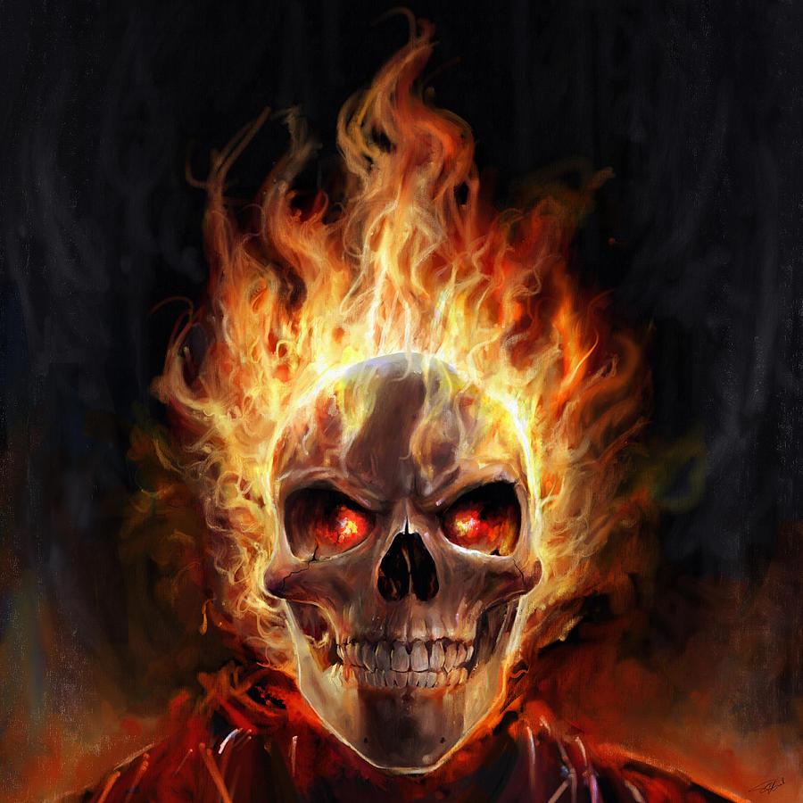 Wallpaper Seram 3d Flaming Skull Digital Art By Steve Goad