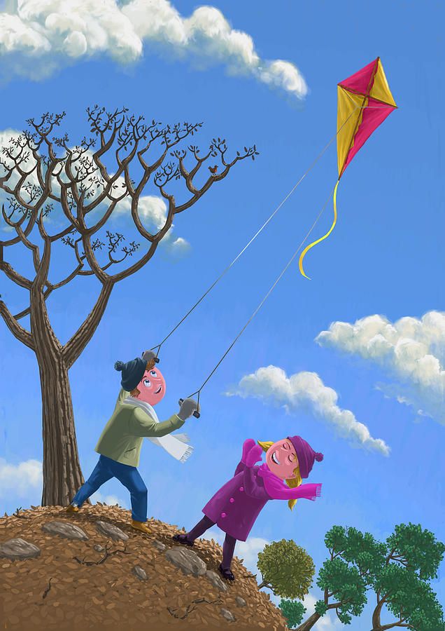 Cute Animated Wallpapers For Mobile Gif Flying Kite On Windy Day Painting By Martin Davey