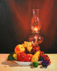 Fruit Under Lamp Light Painting by Jimmie Bartlett