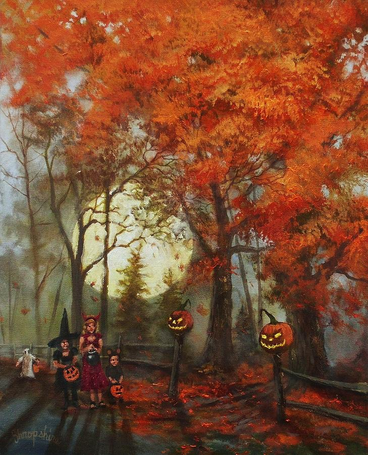 Fall Scarecrow Wallpaper Full Moon On Halloween Lane Painting By Tom Shropshire
