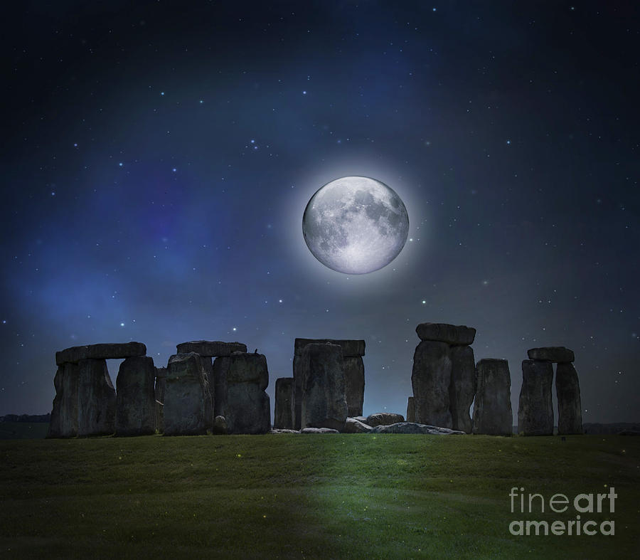 Chargers Iphone Wallpaper Full Moon Over Stonehenge Photograph By Juli Scalzi