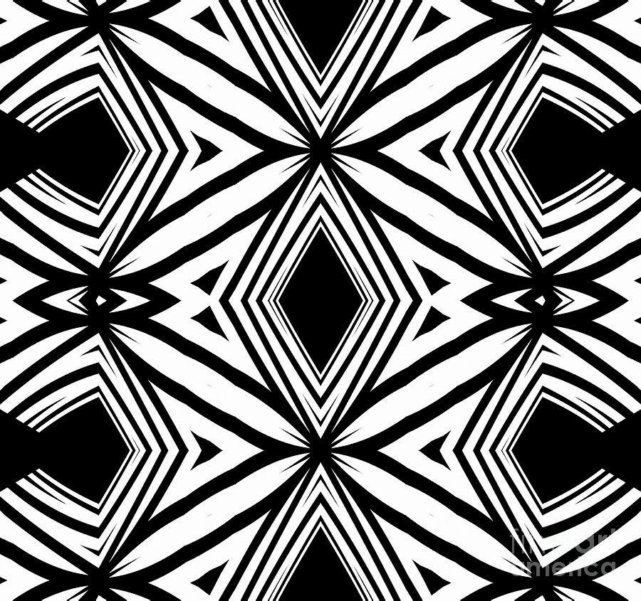 Geometric Pattern Black White Artwork Print No208 Digital Art by