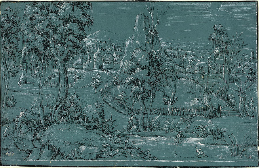 German 16th Century, Landscape With Men Fishing Drawing by Quint