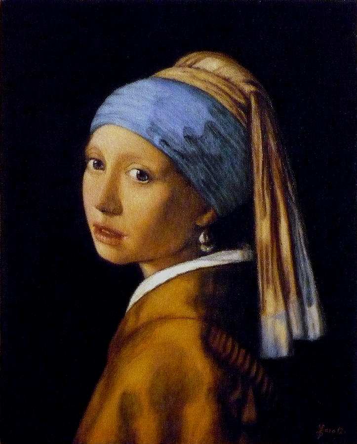 Girl With A Pearl Earring Painting by Jaro Zbijar