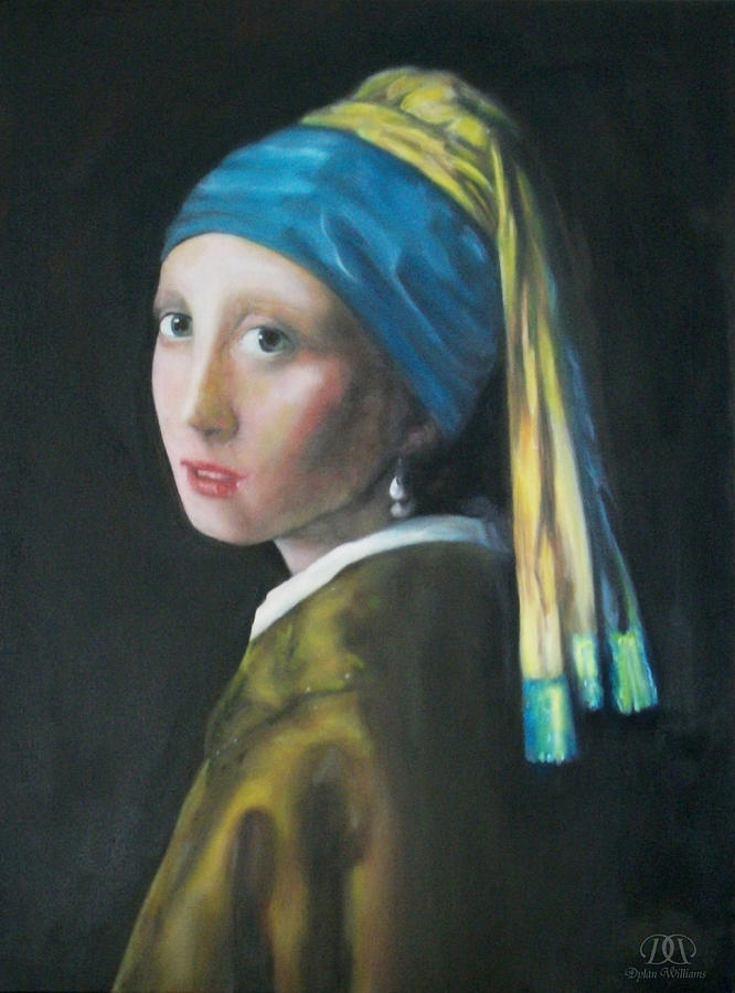 Girl With The Pearl Earring Reproduction Painting by Dylan