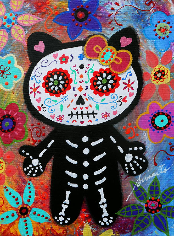 Acid Iphone Wallpaper Hello Kitty Dia De Los Muertos Painting By Pristine