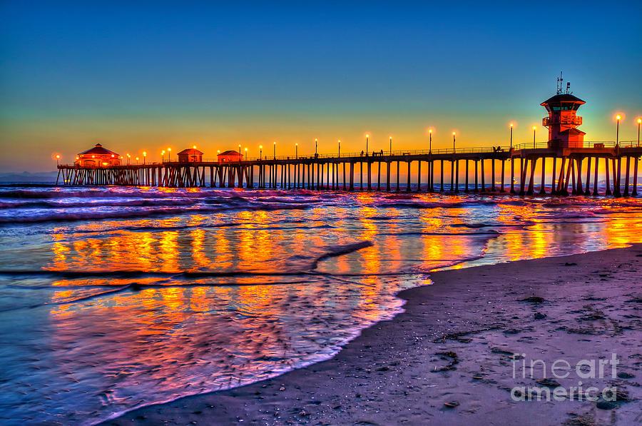 Florida Beach Fall Wallpaper Huntington Beach Pier Sundown Photograph By Jim Carrell