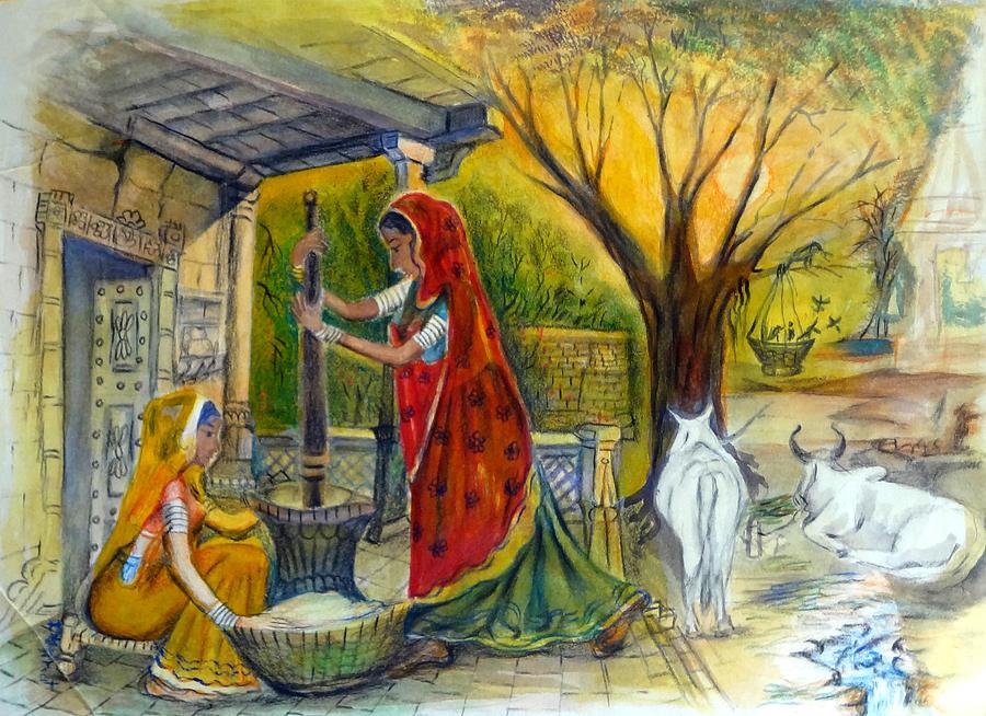 Krishna And Radha 3d Wallpaper Indian Village Life 13 Painting By Bhanu Dudhat