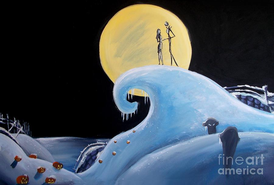 Jack And Sally Wallpaper Hd Jack And Sally Snowy Hill Painting By Marisela Mungia