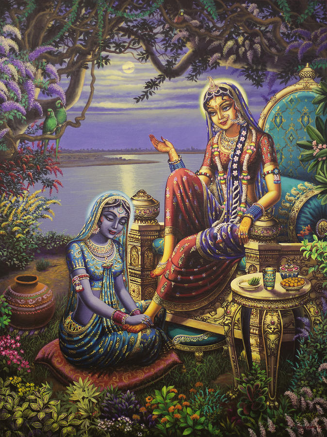Girl Praying To God Wallpaper Krishna Disguised As Gopi Painting By Vrindavan Das