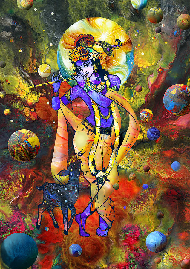 Romantic Radha Krishna Wallpaper Hd Krishna With A Star Deer Mixed Media By Lila Shravani