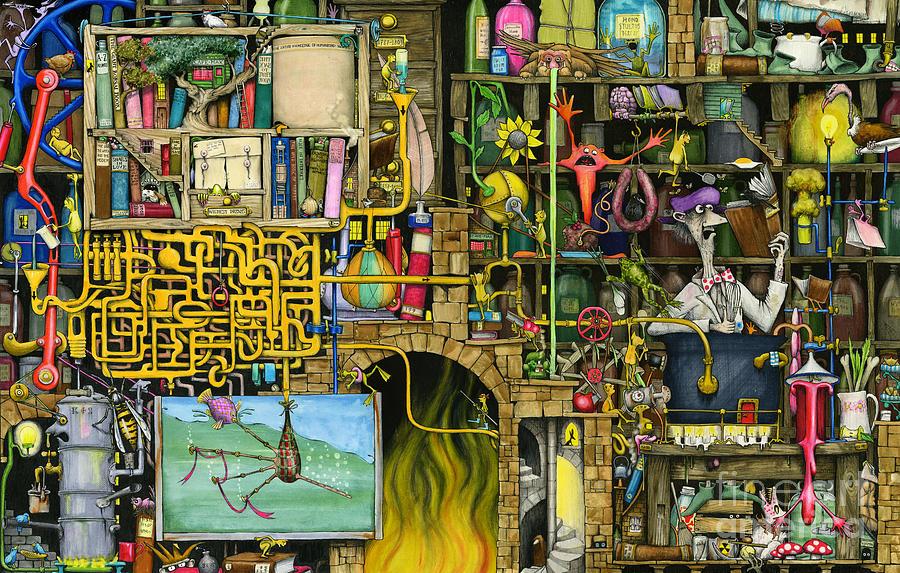 Bookshelf Iphone Wallpaper Laboratory Painting By Colin Thompson