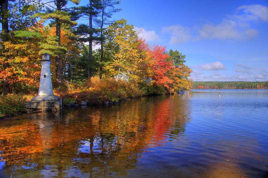 New England Fall Wallpaper Lake Potanipo Lighthouse Photograph By Joann Vitali