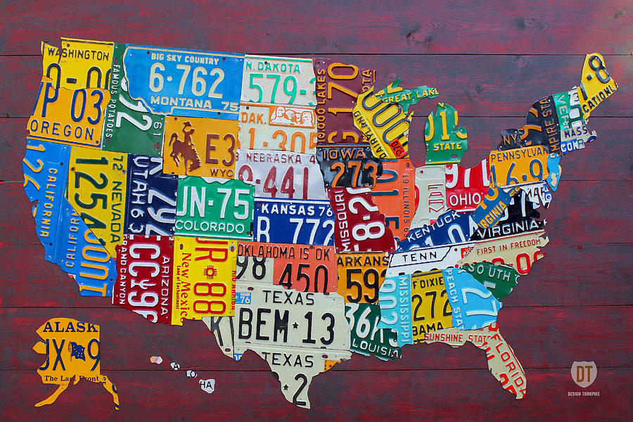 License Plate Map Of The United States Mixed Media By