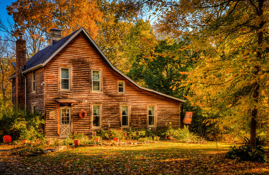 Free Fall Forest Wallpaper Log Cabin In The Fall Photograph By Keith Allen