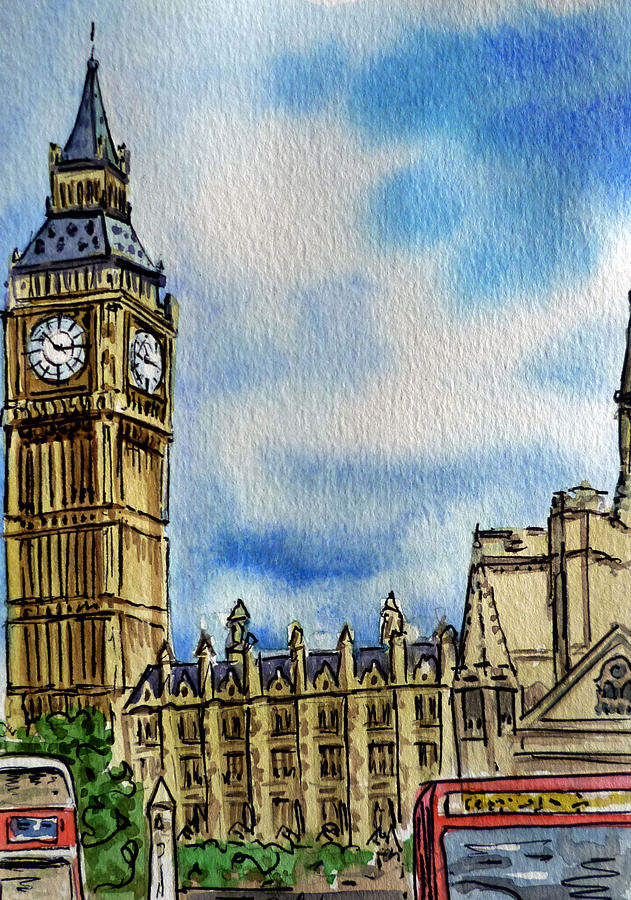 Wallpaper Falling Skies London England Big Ben Painting By Irina Sztukowski