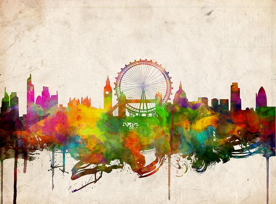 Iphone Christmas Shelf Wallpaper London Skyline Watercolor 2 Painting By Bekim Art