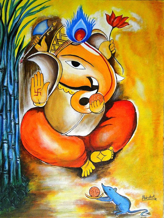 Lord Ganesha Animated Wallpapers Lord Ganesh Painting By Abhishek Purohit