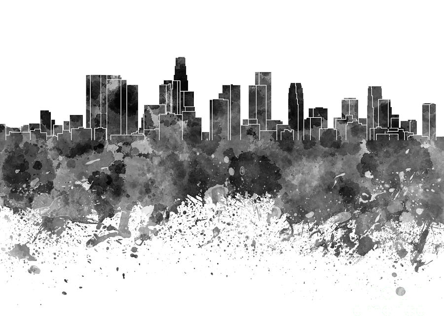 Los Angeles Skyline In Black Watercolor On White Background Painting