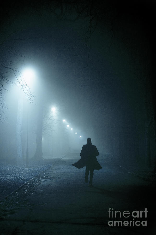 Sad Girl Standing Alone Wallpapers Man In Overcoat Running At Night In Fog Photograph By Lee