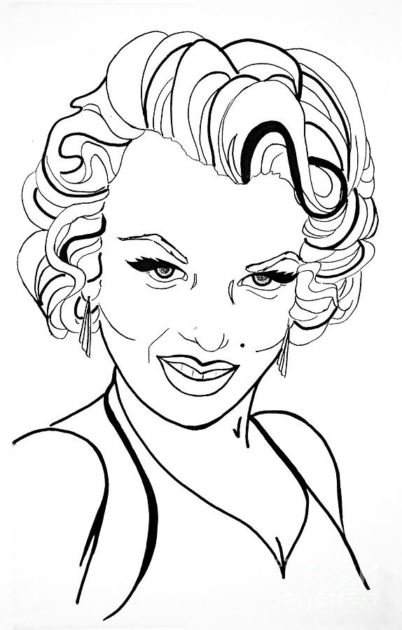 Marilyn Monroe Line Drawing Drawing by Linda Simon